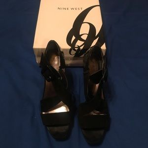 Black Suede and Patten Leather Crisscrossed Heels